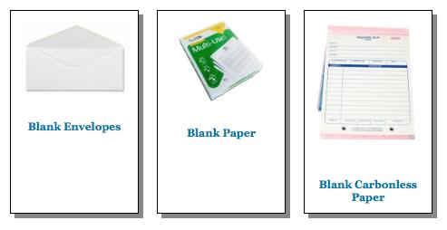 Blank Paper Stock samples